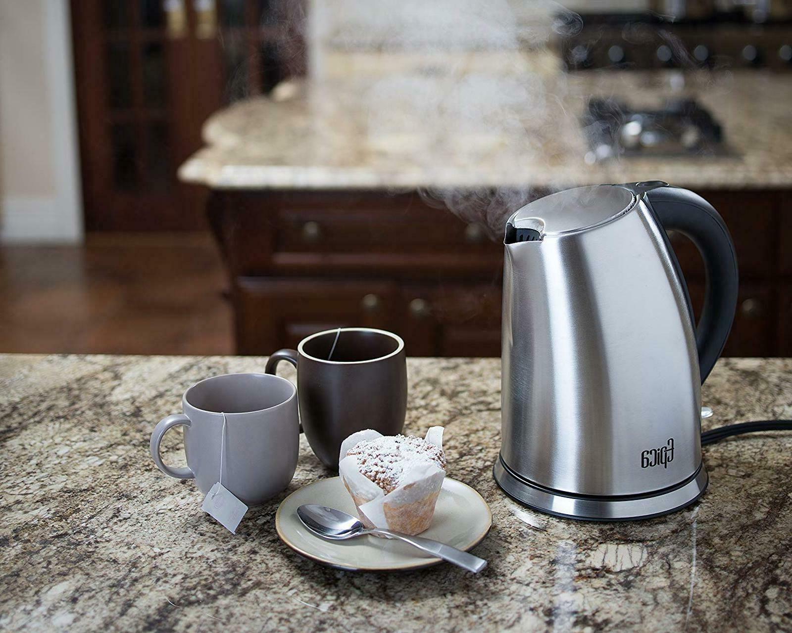 Stainless Steel Electric Kettle Coffee Pot Water Cordless 1.7 L