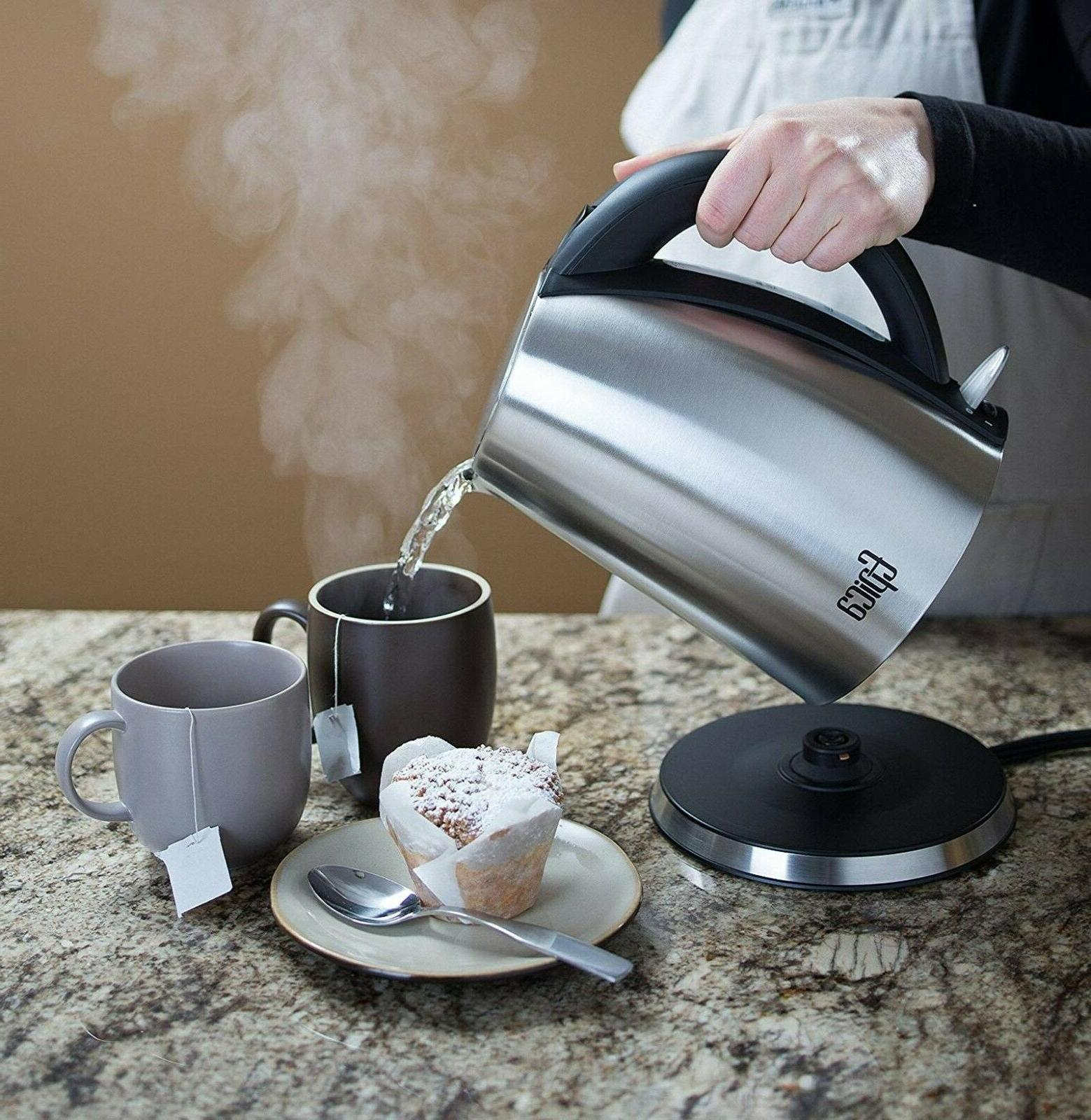 Stainless Kettle Coffee Tea Pot Hot Water Cordless L