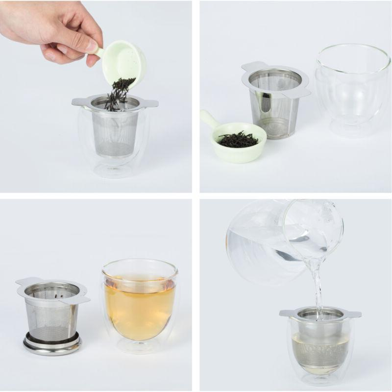 Stainless Tea Strainer Steeper with Lid Teapot