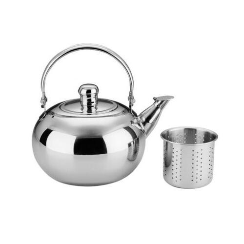 Stainless Steel Tea kettle Teapot Cookware Silver 1.6L w/ Re
