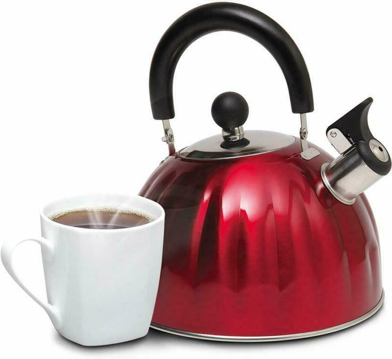 Stainless Steel Whistling Tea Kettle Twining Water Qt Top