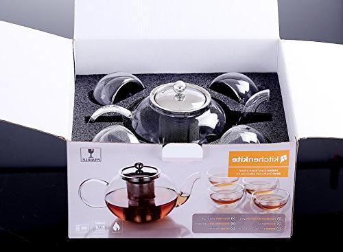 Stovetop Holds Cups, Teapot Extra 4 Double 80ml Steel Safe, Blooming Leaf Pot