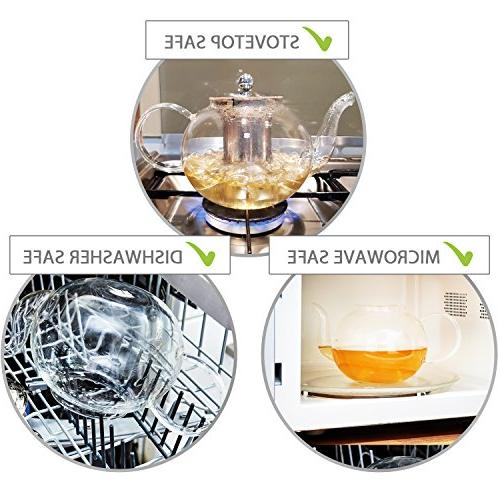 Stovetop Teapot with Infuser Extra 4 Double Wall 80ml Cups, Steel Dishwasher Safe, Leaf