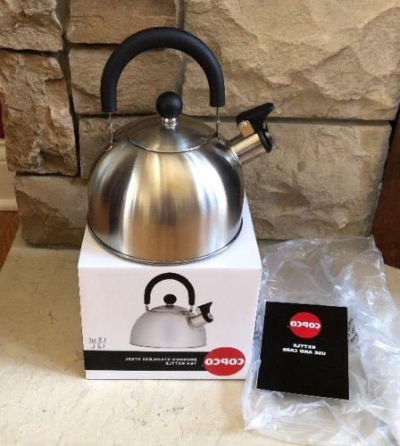 tea kettle 1 3 quarts brushed stainless
