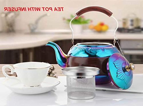 OMGard with Infuser Coffee Pot Stainless Strainer Stovetop Induction Boiling Water 2 Quart