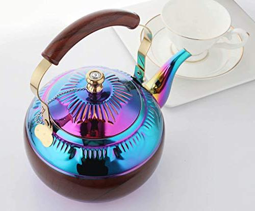 OMGard Kettle with Infuser Loose Rainbow Teapot Liter Coffee Pot Stainless Steel Strainer Colorful Teakettle Stovetop Boiling Camping 2 Quart / Ounce