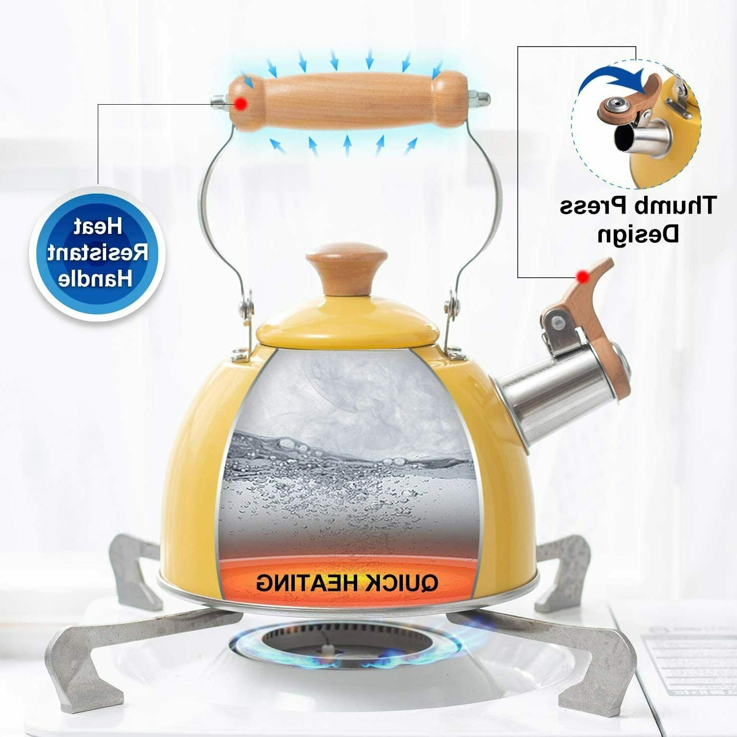 Rockurwok Tea Kettle Whistling Yellow, Steel, Kitchen