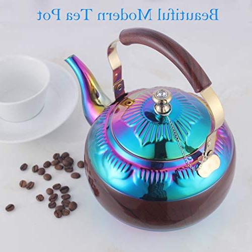 Beautiful Tea Kettle Infuser for Loose Tea Stainless Steel Hot Water pots Strainer Tea Maker Steeper Safe Rainbow Quart