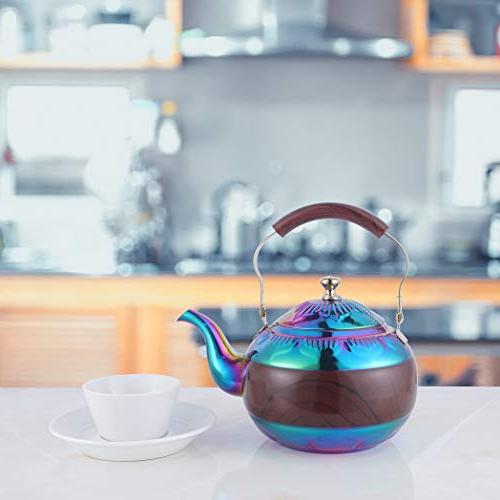 Beautiful Infuser Loose Tea Water Coffee pots Steeper Induction Gas Safe Rainbow 68 Ounce