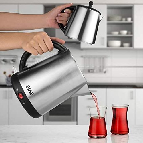 Saki Maker - 1.7 Kettle Tea Teapot, Water Heater Thermostat Control, Stainless Steel, Boil Overheat - in Tea Kettle Boiler Pot