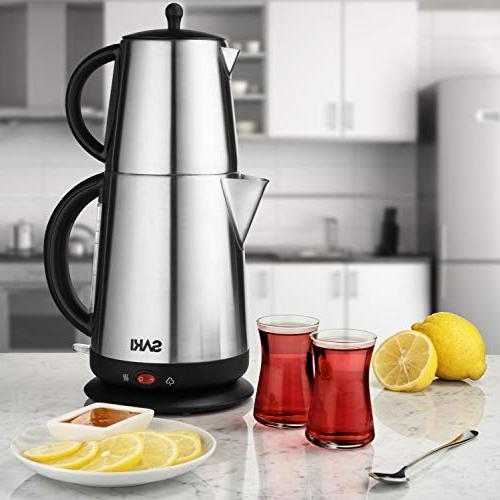 1.7 V Kettle with Tea Teapot, Control, Keep Warm Stainless Steel, Overheat in Kettle Boiler Tea Pot