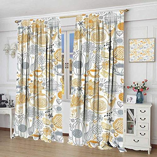 cobeDecor Tea Party Drape for Colorful Floral Arrangement with Teacups and Retro Art Nature Waterproof Window Curtain x Grey