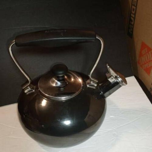 Chantal Tea Pot Kettle Enamel Coated Steel 2 Quart Plus Onyx