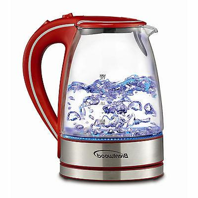 1.7L TEMPERED GLASS KETTLE RED