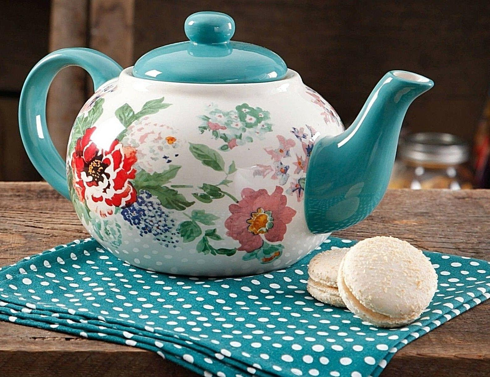 The Pioneer Woman, Country Garden Floral Teapot serve Coffee