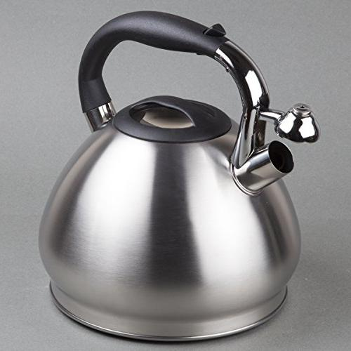 Creative quart Stainless Tea Kettle Capsulated Bottom, Brushed Silver