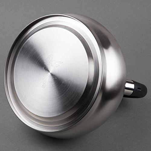 Creative Home Triumph 3.5 quart Steel Tea with Capsulated Bottom, Brushed Finish, Silver