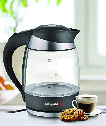 Mueller Austria Water Heater with SpeedBoil Tech, Tea, Coffee Pot 1.8 Cordless with Light, BPA-Free with Auto and Boil-Dry Black