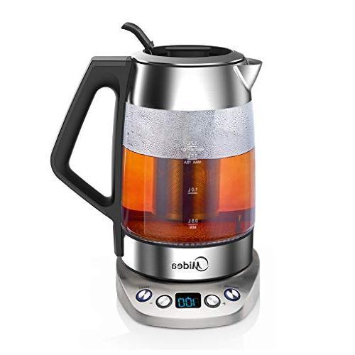 Midea Cordless Electric -Fast Boil Glass(1.7 L) Variable Control-Tea Infuser-Borosilicate Shut-off
