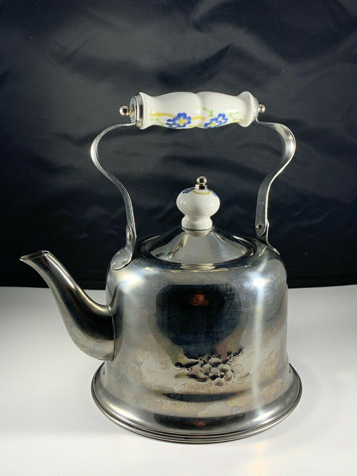 Vintage KitchenArt Tea Pot Stainless Steel Lid Blue/White