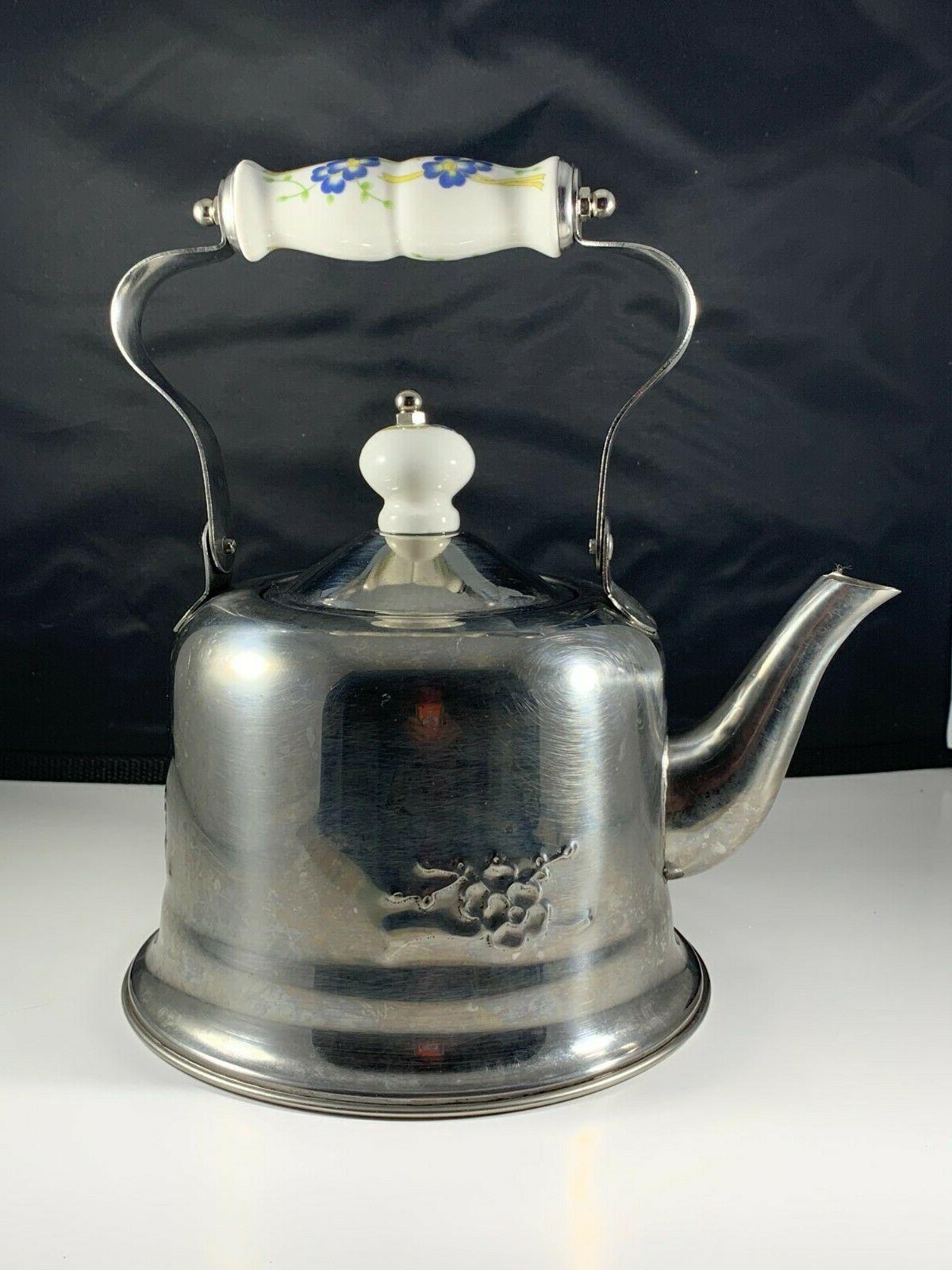 vintage tea kettle pot stainless steel