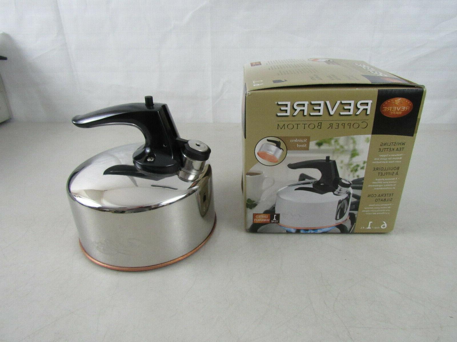 Revere Ware Whistling Tea Kettle 6 Cup NIB Copper Bottom Sta