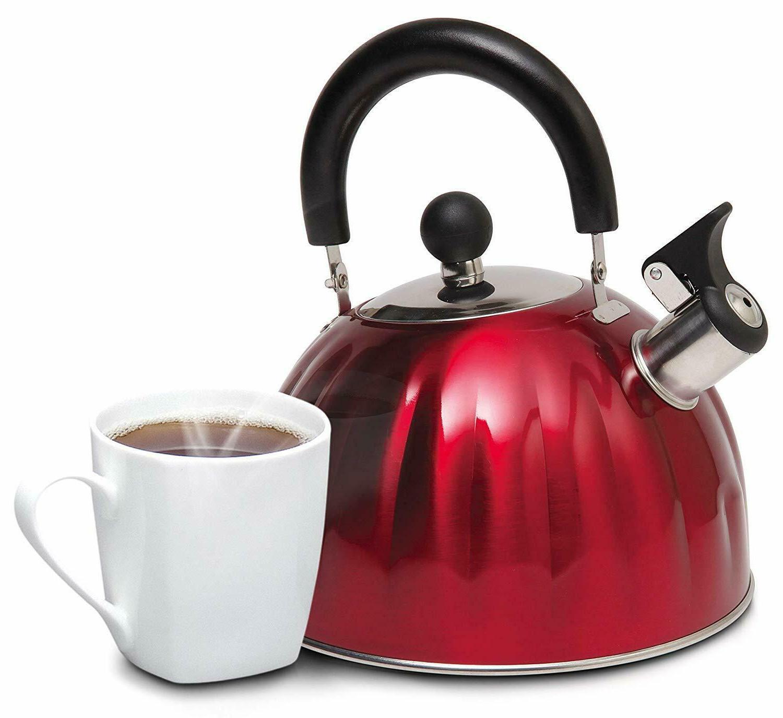 Whistling Kettle Steel Teapot Red teakettle Qt