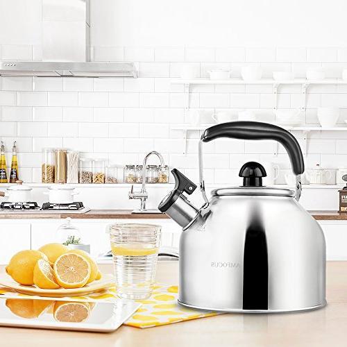 Whistling Tea Steel Teapot Stove Top Thin - 3.7L/4Qt
