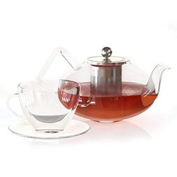 Large Glass Teapot with Infuser 40 Oz - Clear Borosilicate P