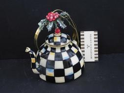 MACKENZIE-CHILDS,BLOWN GLASS,HAND PAINTED COURTLY CHECK TEA