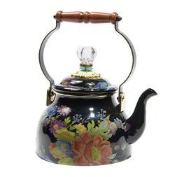 MacKenzie-Childs Flower Market Enamel Tea Kettle - Black - L