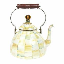 MacKenzie-Childs Parchment Check Enamel Tea Kettle - Large