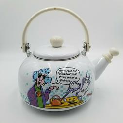 Hallmark Maxine Vintage whistling Teapot Kettle Shiny White