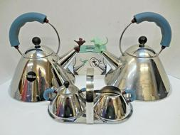 Michael Graves Kettle With Bird Whistle Blue Handle Durable