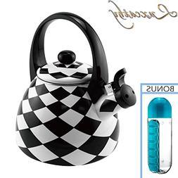 Modern Black Diamond Enamel-on-Steel Whistling Kettle Teapot