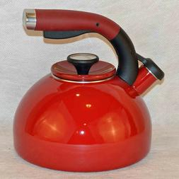 Circulon Morning Bird 2 Quart Steel Teakettle, Rhubarb Red *