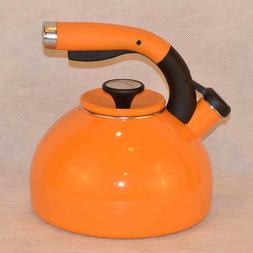 2-qt. Morning Bird Tea Kettle - Color: Mandarin Orange