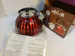 Mr Coffee 2.1 quart Whistling Tea Kettle Red New