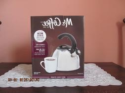 Mr. Coffee 2 QT Whistling Tea Kettle.  Perfect condition NIB