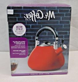 Mr. Coffee 3 qt. Belly Shape Enamel on Steel Whistling Tea K