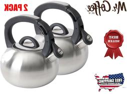 Mr. Coffee Piper Shine Stainless Steel Whistling Tea Kettle,