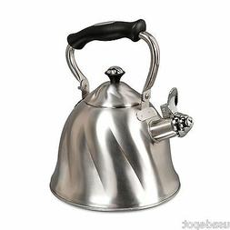 Mr Coffee Whislting Tea Kettle Hot Water Pot 2.3 Quart Brush
