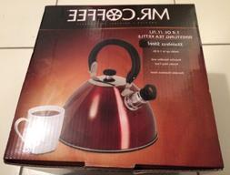 Mr. Coffee Whistling Tea Kettle, 1.8-Quart, Red, New, Stainl