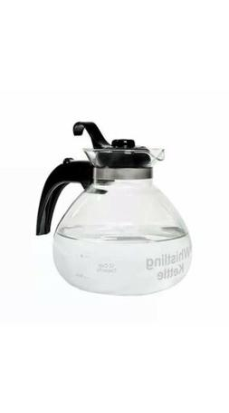 NEW MEDELCO 12-CUP GLASS STOVETOP WHISTLING TEA KETTLE & HEA