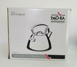ALL CLAD 2 qt WHISTLING TEA KETTLE coffee pot STAINLESS STE