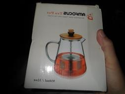 NEW AMFOCUS Borollicate Glass Teapot with Tea Infuser 32 oz.