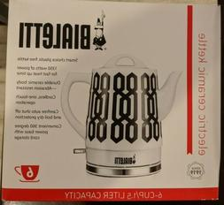 New: Bialetti Electric 6 Cup / 1.5 Liter Ceramic Kettle