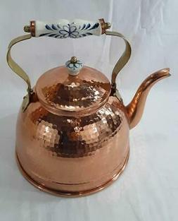 New Hammered Copper Tea Kettle 2 3/4 Quart Capacity Porcelai