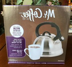 NEW Mr. Coffee Flintshire Brushed Stainless Whistling Tea Ke