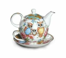 New Owls Tea For One Owl Teapot w Cup in One set Fine Bone C